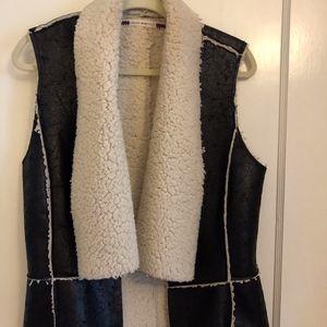 Black Leather Fur Vest